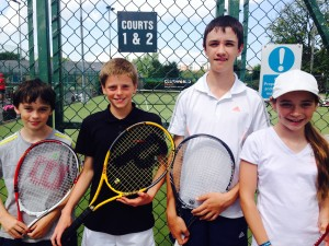Newcastle Tennis Club Players at the Clubworld Travel Ulster Junior Open: (l-r) Ciaran Flanigan, Gabriel Corrigan, Michael Flanigan, Sinéad Flanigan