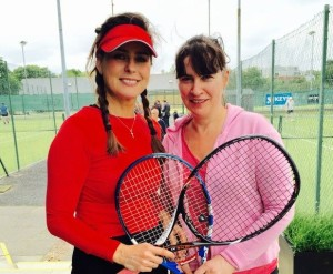 Jane McIlwrath and partner Sharon Hill, winners of the Ladies Doubles at Belfast Boat Club